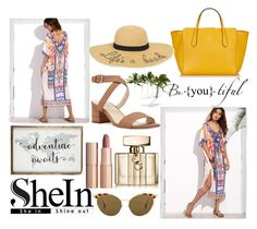 """""""Shein dress"""" by lydiaclayton22 ❤ liked on Polyvore featuring WithChic, Polaroid, Ahlem, Nine West, Gucci, Charlotte Tilbury and New Directions"""