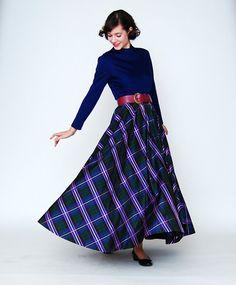 60s Formal Dress - Jewel Tone Plaid