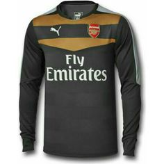 The new Arsenal 15-16 Goalkeeper Kit is dark gray with golden and white details, while the Puma Arsenal 2015-16 Goalkeeper Away Kit is turquoise.