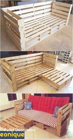 Amazing 16 DIY Indoor Pallet Couch Ideas Arrange a DIY pallet sofa set in your living room and invite some friends for a brunch. Make a two or three seats sofa and decorate . Pallet Furniture Designs, Pallet Garden Furniture, Pallet Designs, Furniture From Pallets, Diy Furniture, Diy Pallet Couch, Pallet Couch Outdoor, Diy Pallet Bar, Small Pallet