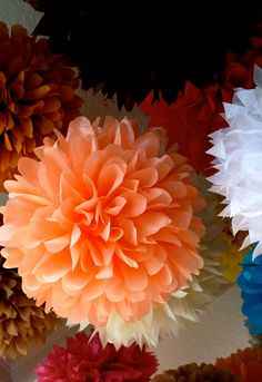 Custom Colors ... 35 tissue paper poms // wedding ceremony // birthday // baby shower // fiesta // party decorations