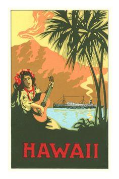 Hawaii, Volcano, Cruise Ship, Woman with Guitar Premium Poster
