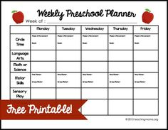Weekly Preschool Planner {Free Printable} If you teach preschool at home, this printable will help you plan our your weekly lessons!