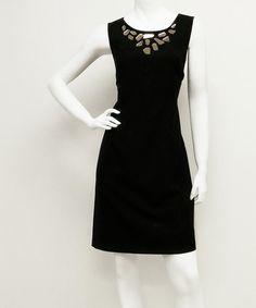 Look what I found on #zulily! Black Mirror Geometric-Neckline Dress - Women #zulilyfinds