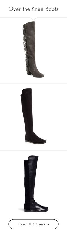 """""""Over the Knee Boots"""" by aliceridler ❤ liked on Polyvore featuring shoes, boots, smoke, fringe cowboy boots, cowboy boots, suede thigh-high boots, cowgirl boots, over the knee fringe boots, black and stuart weitzman"""