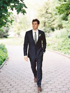 Ariel Dearie and Andrew Simkiss, Brooklyn. Handsome groom, handsome suit.