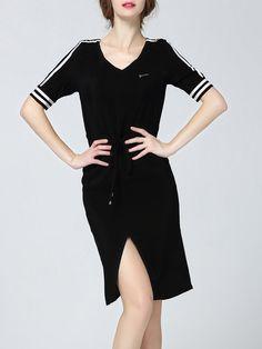 Shop Midi Dresses - Black Sheath Silk Half Sleeve Midi Dress online. Discover…