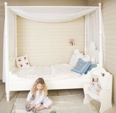 Girls Four Poster Bed | Shabby Chic Girls Bed | Designer Painted Kids Bed