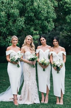 Samantha the gorgeous bride dressed her bridesmaids in white Connelly Midi bridesmaids dresses. Shop more white bridesmaids dresses at White Runway.