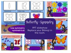 *****ADD YOUR OWN BITMOJI to this lesson*****Butterfly Symmetry lesson.Includes:1. Five slides demonstrate symmetry for lower grades.2. One slide contains simple directions to draw a symmetrical butterfly.3. Slideshow is available in three formats:A. Powerpoint- you are able to delete my Bitmoji (It... 3rd Grade Art Lesson, Kindergarten Art, Grade 1, Art Lessons, 3d Printing, Butterfly, Draw, Education, Learning