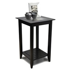 Convenience Concepts Carmel Square Wood and Glass End Table with Shelf | from hayneedle.com