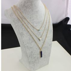 Trendy Three layer stone necklace Beautiful gold tone alloy three layer white stone mosaic geometric stone necklace very elegant brand new Jewelry Necklaces