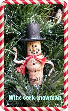 Make it easy crafts: Wine and champagne cork snowman ornament