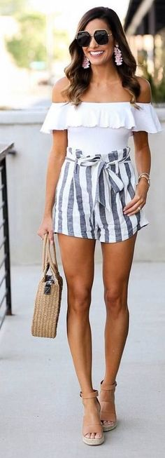 #Summer #Outfits / White Off the Shoulder Top + Striped Shorts