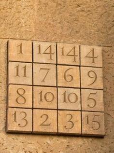 Magic square on the wall of the Basilica de la Sagrada Familia in Barcelona by Antoni Gaudi. The rows, columns, diagonals, and corner and centre 2x2 squares add up to 33.