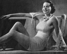 PDF of Minervas Catalina Beach Ensemble Vintage Knitting Pattern, c. 1934.