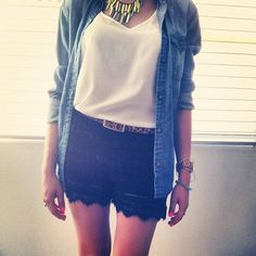 Another cute way to style the Black Lace Shorts for summer http://mickeysgirl.com/black-lace-shorts.html $35