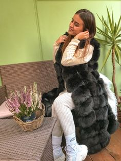 "Long faux fur vest ""Bohemian"" in black. #vest #womenfashion #womenoutfits Dark Green Pants, Yellow Pants, White Pants, Beige Vests, Long Vests, Black Vest, Perfect Wardrobe, Faux Fur Vests, Piece Of Clothing"