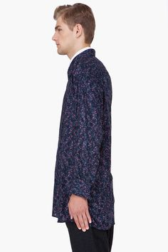 RAF SIMONS Oversize Midnight Blue Floral Shirt