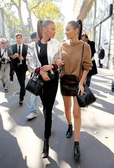 October 1: Bella Hadid and Stella Maxwell out in Paris, France during Paris Fashion Week.