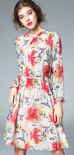 Multicolor Beach Silk Print Elastic Waist And Cuff Mock Neck A-Line Mini Dress