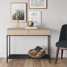 Provide storage in any room of the house with the Two Tone Console Table in Matte Black from Threshold. This storage console table gets a lift from the brown wood feet and has drawers that conceal your belongings. Slim Console Table, Decoration Entree, Entryway Tables, Foyer, Large Drawers, My New Room, Consoles, Contemporary Style, Storage Spaces