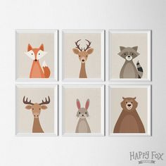 Woodland Animals Set Printable Art Nursery Art by HappyFoxDesign