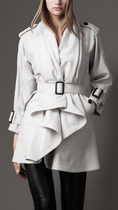 Just dreaming I had enough money to buy a coat like this. BURBERRY: Drape Front Coat [Winter White] $1095.00