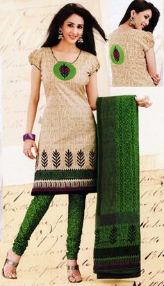Simple Salwar - green and cream