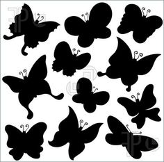Illustration of Butterflies silhouette collection - vector illustration.