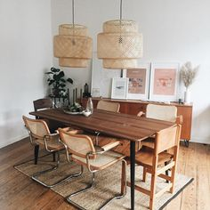 The Cesca chair has made a resurgence into popularity in recent months, earning a spot on our Instag Living Room Chairs, Dining Chairs, Warm Dining Room, Ikea Dining Room, Bamboo Pendant Light, Beautiful Dining Rooms, Interior Decorating, Interior Design, Interior Modern
