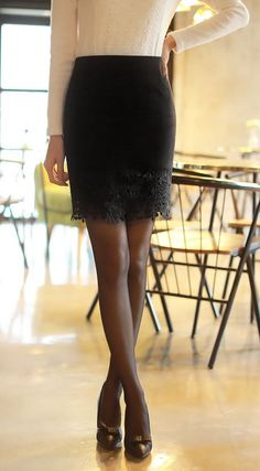 StyleOnme_Romantic Laced Pencil Skirt #skirt #lace #miniskirt