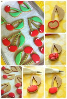 Cherry cookie how-to. This website has the best tutorials....and the shortbread cookie recipe will have people wanting you to make more and more!