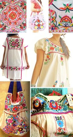 Folk Embroidery Patterns Street Patterns: Mexican Embroidery I need to get some dresses like this Mexican Embroidery, Folk Embroidery, Vintage Embroidery, Embroidery Dress, Embroidery Stitches, Embroidery Patterns, Mexican Fashion, Folk Fashion, Mexican Style
