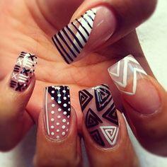 Black & White nails.