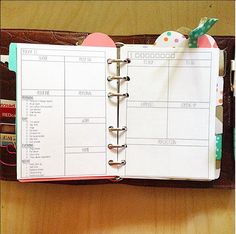 Day on Two Page Filofax Inserts