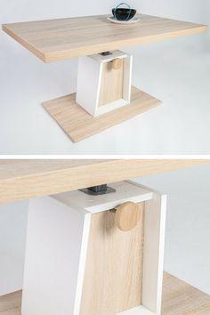 Table basse transformable en bois sur pied