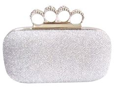 Chicastic Glitter Metallic Duster Four Ring Knuckle Clutch Evening Purse With Rhinestones - Silver, Women's, Size: Medium Bridal Clutch Bag, Clutch Purse, Prom Accessories, Fashion Accessories, Cute Purses, Purses And Bags, Silver Clutch, Studded Clutch, Silver Shoes