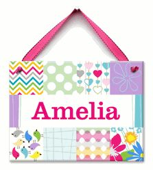 Pattern Pop Name Plaque - Our decorative hand-painted Pattern Pop themed wall plaque for baby girl can be personalized with her special name making this a truly unique keepsake baby gift! A special addition to baby girl's nursery or playroom. $36.00