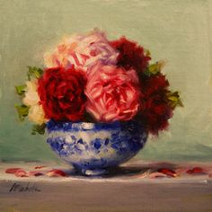Old English Roses in Blue and White, Oil on Linen Panel Still Life oil Pa. - Old English Roses in Blue and White, Oil on Linen Panel Still Life oil Painting by Carol - Still Life Oil Painting, Blue Painting, Old English Roses, Abstract Flowers, Abstract Art, Arte Floral, Fine Art Gallery, Flower Vases, Art For Sale