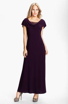 Long Beaded Drape Gown
