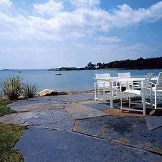 Stone patio on inlet in Manchester-by-the-Sea, MA