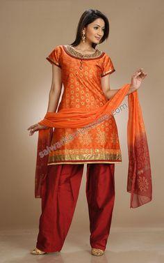 Orange and red silk salwar kameez! Love <3