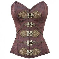 CD-919 - Brown Brocade Pattern Corset with Brass Clasps and Embroidery Design - Steampunk Couture - STEAMPUNK