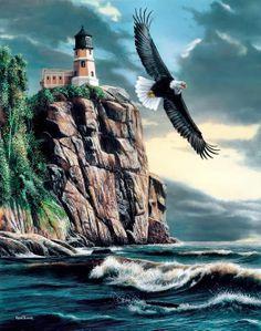 Eagle Over Lighthouse Art Print by Kevin Daniel ~ Split Rock Lighthouse, Lake Superior, Minnesota. Thomas Kinkade, Lighthouse Painting, Lighthouse Pictures, Eagle Art, Wildlife Art, Bald Eagle, Original Paintings, Scenery, Cross Stitch