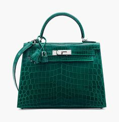 4405e2f1b011 A Shiny Vert Eméraude Niloticus Crocodile Sellier Kelly 28 with Palladium  Hardware. Hermès