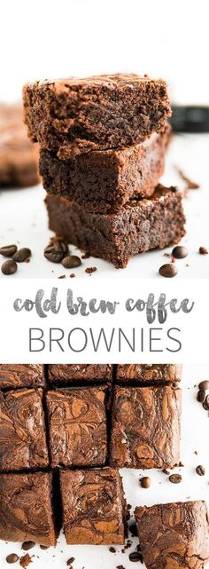 Cold Brew Coffee Brownies are rich, super fudgy, and made with cold brew coffee which takes the chocolate flavor to a new level! These delicious brownies satisfy all your caffeine and chocolate cravin (Sweet Recipes Cold) Köstliche Desserts, Best Dessert Recipes, Coffee Recipes, Sweet Recipes, Delicious Desserts, Plated Desserts, Coffee Dessert, Dessert Bars, Coffee Coffee