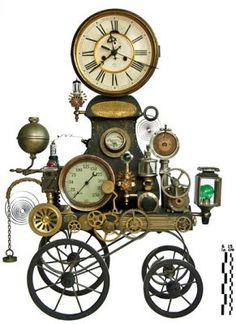Cool Steampunk Decor. I need to start collecting clocks for something like this.