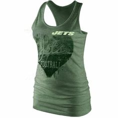 New York Jets Ladies Heart Relaxed Fit Tri-Blend Racerback Tank - Green 1711cffa9