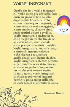 PoesiO b :/ie Italian Language, Learning Italian, Magic Words, Kids And Parenting, Montessori, Life Lessons, Me Quotes, Positivity, Teaching